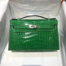Luxury Hermes 1L Cacti Green Shiny Crocodile Leather Minikelly Clutch Bag22CM