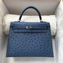 Discount Hermes Ostrich Leather Kelly Bag25cm in 7L Blue De Maite Silver Hardware