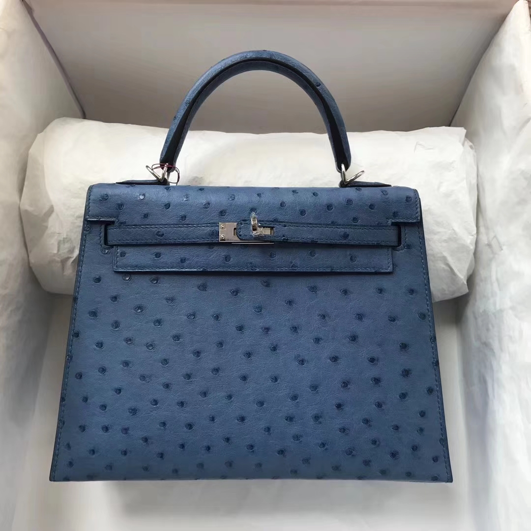 9e5ef0620b 71348 021cd  czech brand hermes style sellier kelly bag material ostrich  leather color7l blue de maitesize25cm hardwaresilver accessories