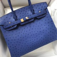 Noble Hermes 7T Blue Electric Ostrich Leather Birkin30CM Tote Bag Gold Hardware