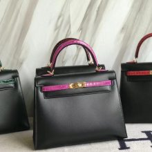 Pretty Hermes Sellier Kelly Bag25CM in CK89 Black Box Calf & 5J Hot Pink Crocodile Leather