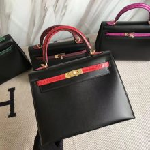 Wholesale Hermes CK89 Black Box Calf & CK95 Braise Crocodile Leather Kelly25CM Bag