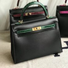 New Hermes Kelly Bag25CM in CK89 Black Box Calf & CK67 Vert Fonce Crocodile Leather