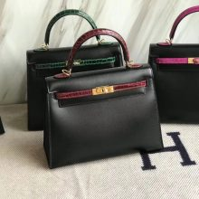 Elegant Hermes CK89 Black Box Calf & CK57 Bordeaux Crocodile Leather Kelly25CM Bag