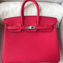Discount Hermes Togo Calf Birkin Bag25CM in I6 Rose Extreme Silver/Gold Hardware
