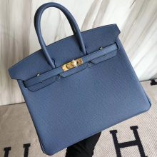 Sale Hermes Epsom Calf Birkin Bag25CM in 7R Haze Blue Gold Hardware