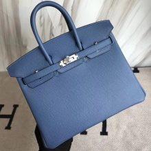 Noble Hermes 7R Haze Blue Epsom Calf Birkin25CM Bag Silver Hardware