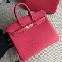 Pretty Hermes I6 Rose Extreme Togo Calf Birkin25CM Bag Gold Hardware