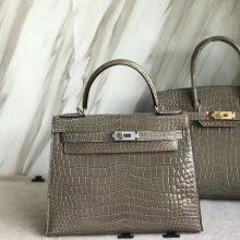 Fashion Hermes Shiny Crocodile Leather Kelly28CM Bag in C81Gris Tourterelle