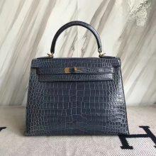 Discount Hermes Porosus Shiny Crocodile Kelly28CM Bag in N7 Blue Tempete