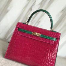 Elegant Hermes J5Rose Scheherazade/6Q Emerald Green Crocodile Leather Kelly25CM Bag