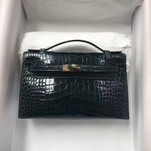 Fashion Hermes Alligator Shiny Crocodile Minikelly Pochette22CM in 1P Blue Colvert