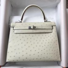 Discount Hermes 3C Wool White Ostrich Leather Sellier Kelly Bag25CM Silver Hardware