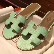 Noble Hermes Mint Green Lizard Leather Women's Flat Heel Sandals Shoes35-41