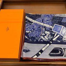 Sale Hermes Dark Blue Cashmere Silk Printed Women's Scarf140*140cm