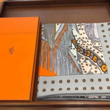 Top Quality Hermes《Noble Saddle》Cashmere Silk Women's Scarf 140*140cm