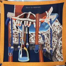 Hermes 2018 Autumn《Noble Saddle》New Cashmere Silk Scarf in Dark Blue