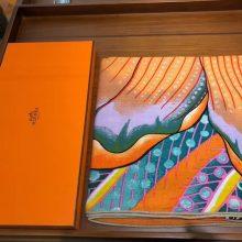 New Hermes 2018 Autumn《Leopard & Flower》Orange Cashmere Silk Women's Scarf