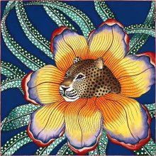 Noble Hermes《Leopard & Flower》Yellow Cashmere Silk Women's Scarf 140*140CM