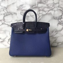 Fashion Hermes Birkin25CM Bag in 7T Blue Electric Togo Calf & Dark Blue Crocodile Leather