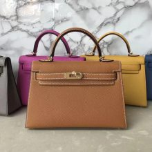 Hand Stitching Hermes CK37 Gold Epsom Calf Minikelly-2 Bag Gold Hardware
