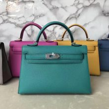 Fashion Hermes Blue Paon Epsom Calf Minikelly-2 Eveing Clutch Bag Silver Hardware