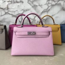 New Arrival Hermes 4W Rose Wistaria Epsom Calf Minikelly-2 Clutch Bag Silver Hardware