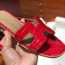 Pretty Hermes ShinyCrocodile Women's Flat Sandals in Braise Size35-41