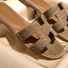 Discount Hermes Etoupe Grey ShinyCrocodile Women's Flat Sandals 35-41