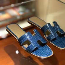 Luxury Hermes Blue Prussia CrocodileLeather Women's Sandals Shoes Size35-41