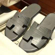 Sale Hermes Crocodile Leather Men's Sandals Shoes in Iron Grey Size39-44