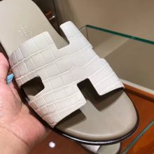Fashion Hermes Himalaya MattCrocodileLeather Men's Sandals Size39-44
