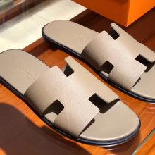 Wholesale Hermes Etoupe Grey Epsom Calf Classic Men's Sandals Size39-44