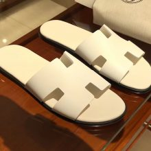 Hand Stitching Hermes Pure White Epsom Calf Men's Classic Sandals Size39-44