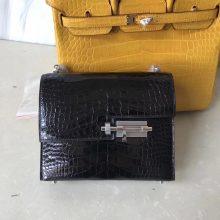 Noble Hermes Black Shiny Crocodile VerrouShoulder Bag17cm Silver Hardware