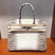 Fashion Hermes Himalaya CrocodileLeather Birkin30CM Bag Silver Hardware