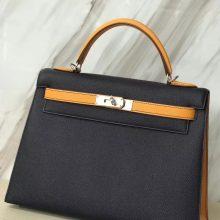 Fashion Hermes 7K Blue Indgo/9V Jaune d'or Epsom Calf Kelly32CM Silver Hardware