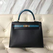 Luxury Hermes CK89 Black Box Calf & 7W Blue Izmir Crocodile Leather Kelly Bag25CM
