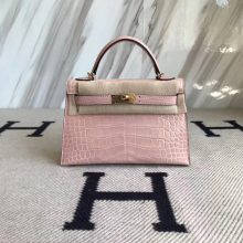 Pretty Hermes Shiny Crocodile Minikelly-2 Clutch Bag in 5Z Rose Indienne Gold Hardware