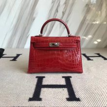 Fashion Hermes Shiny Crocodile Minikelly-2 Clutch Bag in CK95 Braise Silver Hardware