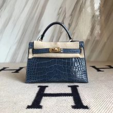 Elegant Hermes N7 Blue Tempete Shiny Crocodile Minikelly-2 Evening Bag