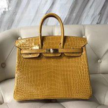 Luxury Hermes 9D Ambre Yellow Shiny Crocodile Birkin Bag25CM Gold Hardware