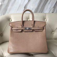 Fashion Hermes Shiny Lizard Birkin25CM Tote Bag in CC24 Milk Tea Color