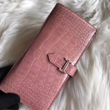 Discount Hermes Pink Shiny Crocodile Bean Wallet Women's Clutch Bag