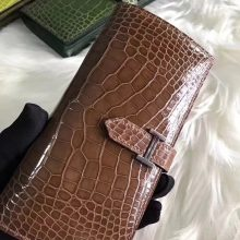 Wholesale Hermes Brown Shiny Crocodile Bean Wallet Clutch Bag Silver Hardware