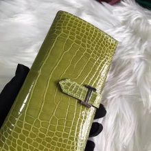 Noble Hermes Olive Green Shiny Crocodile Bearn Women's Long Wallet Silver Hardware