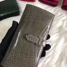Sale Hermes Grey Shiny Crocodile Bearn Wallet Long Purse Silver Hardware