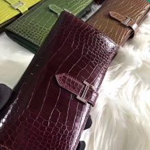 Elegant Hermes Shiny Crocodile Women's Wallet Clutch Bag in Bordeaux