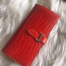 Wholesale Hermes Red Shiny Crocodile Leather Bean Wallet Long Purse