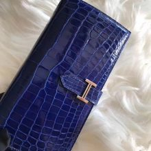 Elegant Hermes Shiny Crocodile Leather Bean Wallet Purse in Blue Electric